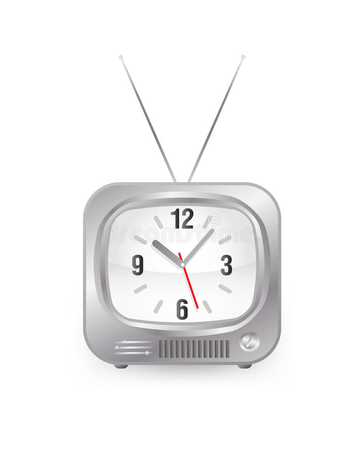 Tv with clock stock illustration