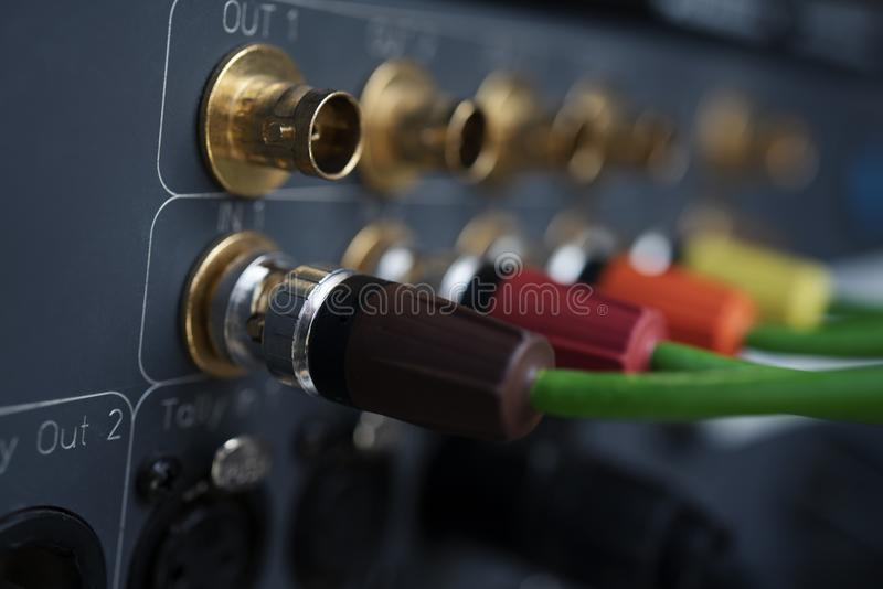 TV coaxial type to recording device. CCTV cable, TV coaxial type to recording device. broadcasting equipment and recording stock photography