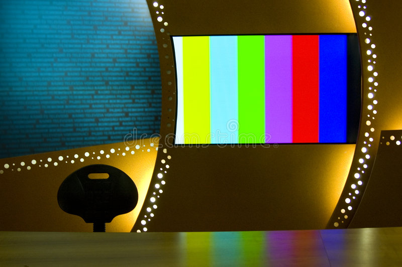 TV Color Bars. TV news studio for broadcast production