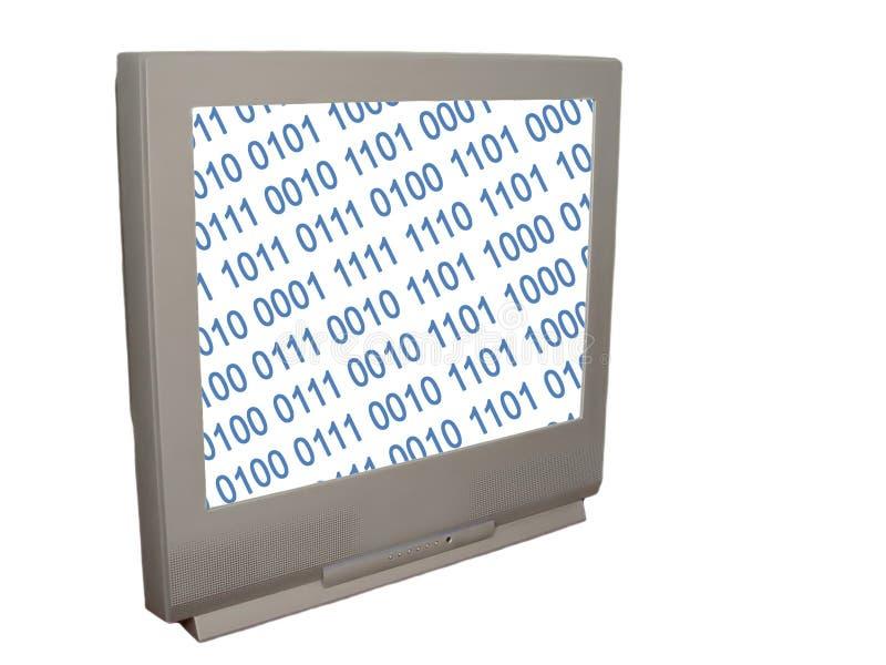TV con el código de Binery fotografía de archivo