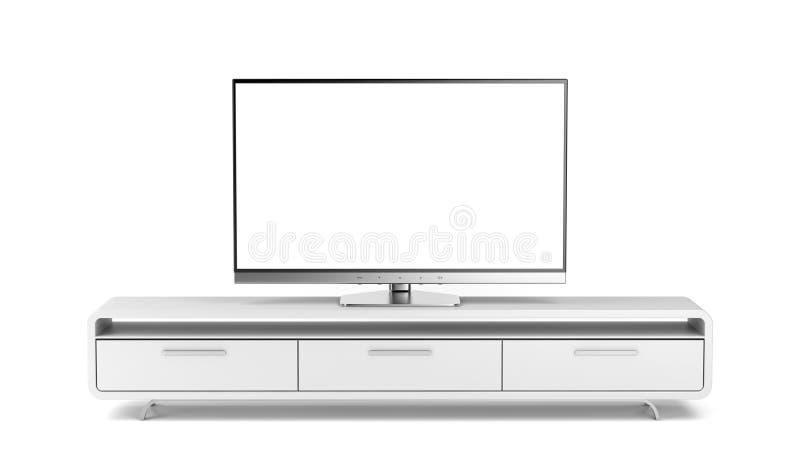 TV con el soporte stock de ilustración