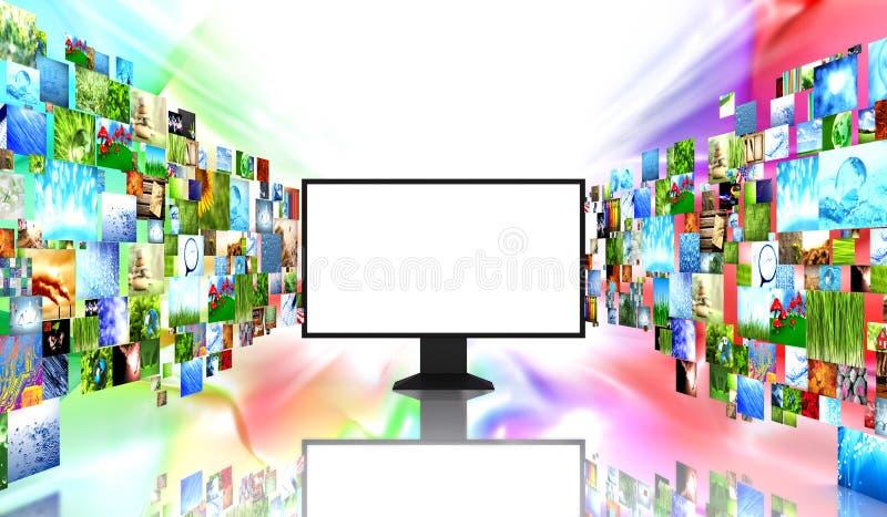 TV con imágenes ilustración del vector