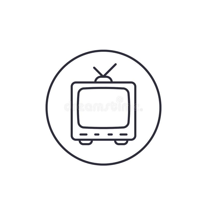 TV con la antena, icono linear del viejo vector de la televisión ilustración del vector