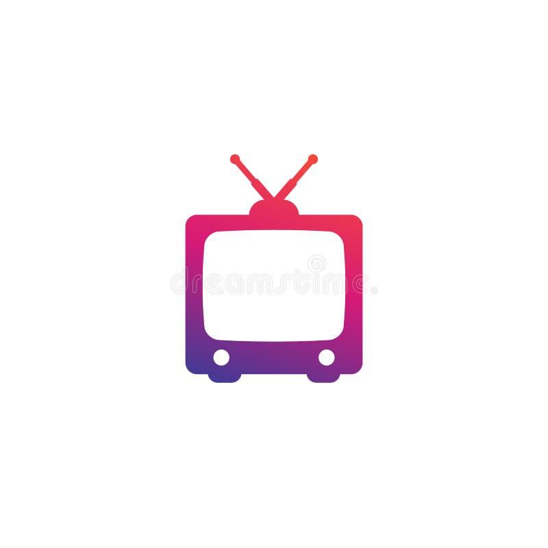 TV con la antena, viejo icono del vector de la televisión libre illustration