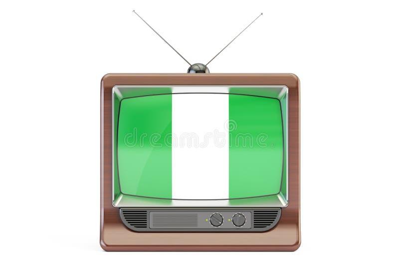 TV con la bandiera della Nigeria Concetto nigeriano della televisione, renderi 3D illustrazione vettoriale