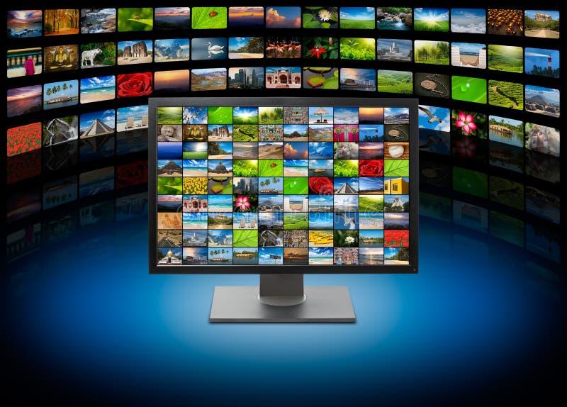 TV con le immagini sulla priorità bassa di media