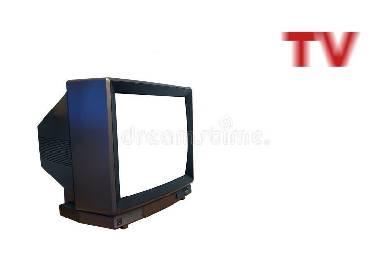TV con lo schermo bianco immagine stock libera da diritti