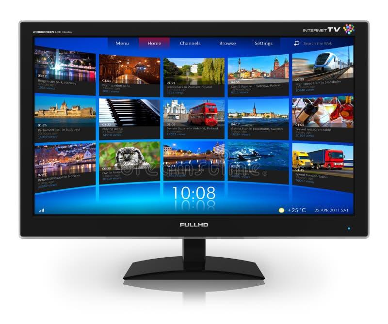 TV con pantalla grande con fluir la galería video stock de ilustración