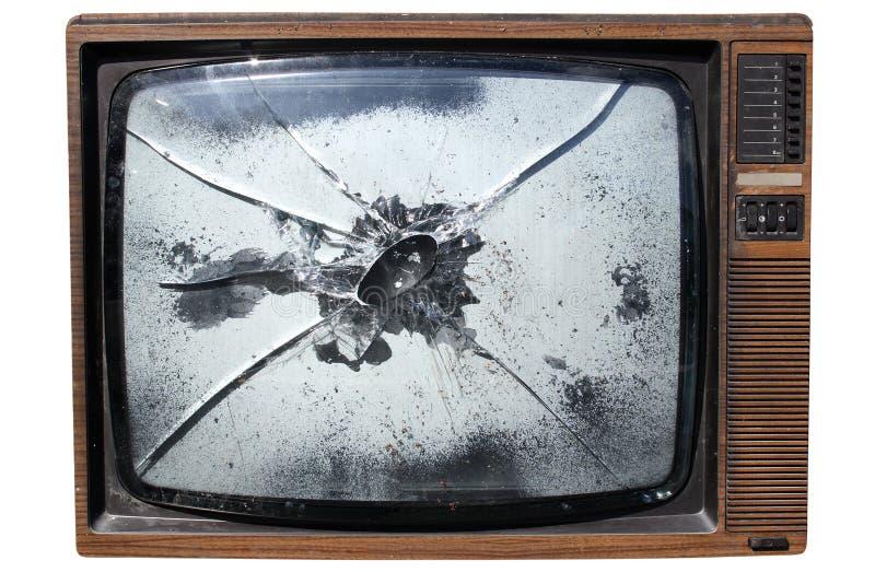 TV con uno schermo fracassato fotografie stock libere da diritti