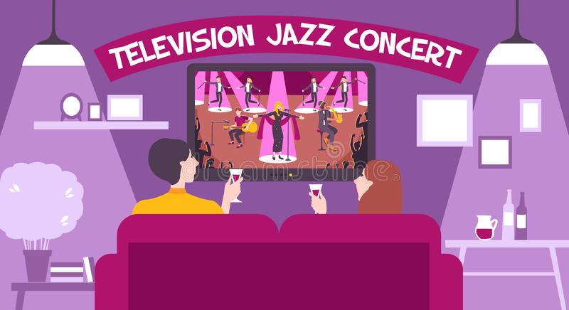 Tv Concert Show Composition. With television jazz concept headline and romantic setting vector illustration royalty free illustration