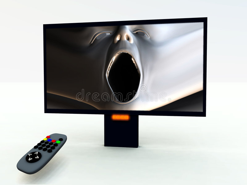 TV Control And TV 5 Stock Images
