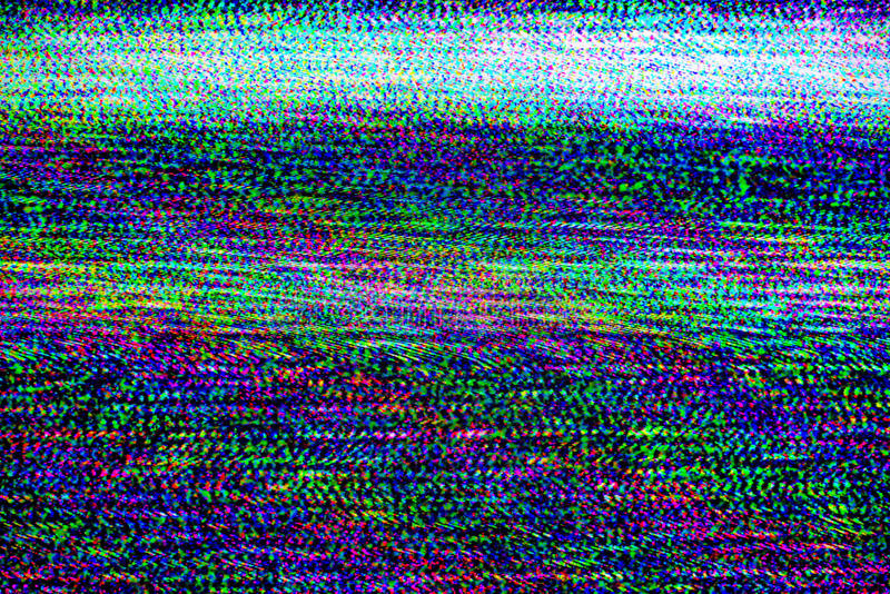 TV damage, television static noise. TV damage, bad sync TV channel, RGB LCD television screen with static noise from poor broadcast signal reception as analogue stock photography