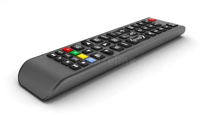 TV-de Afstandsbediening op witte 3d die achtergrond wordt ge?soleerd geeft terug royalty-vrije illustratie
