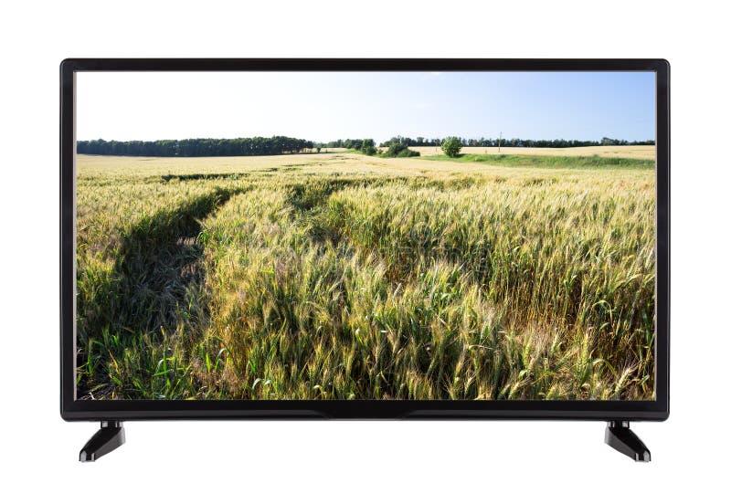 TV de alta definición moderna con el campo de oídos verdes en la pantalla imágenes de archivo libres de regalías