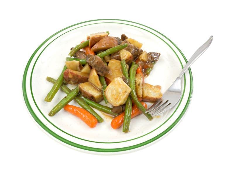 TV-de maaltijd van het dinerrundvlees op plaat met vork royalty-vrije stock foto