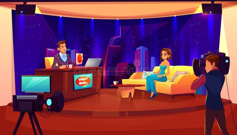 TV-de nacht toont Het vrouwelijke gesprek van de beroemdheidsgast royalty-vrije illustratie