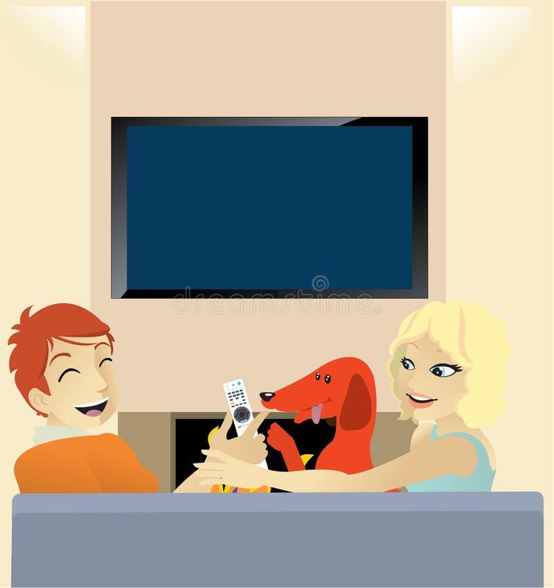 TV de observación con nuestro perro ilustración del vector