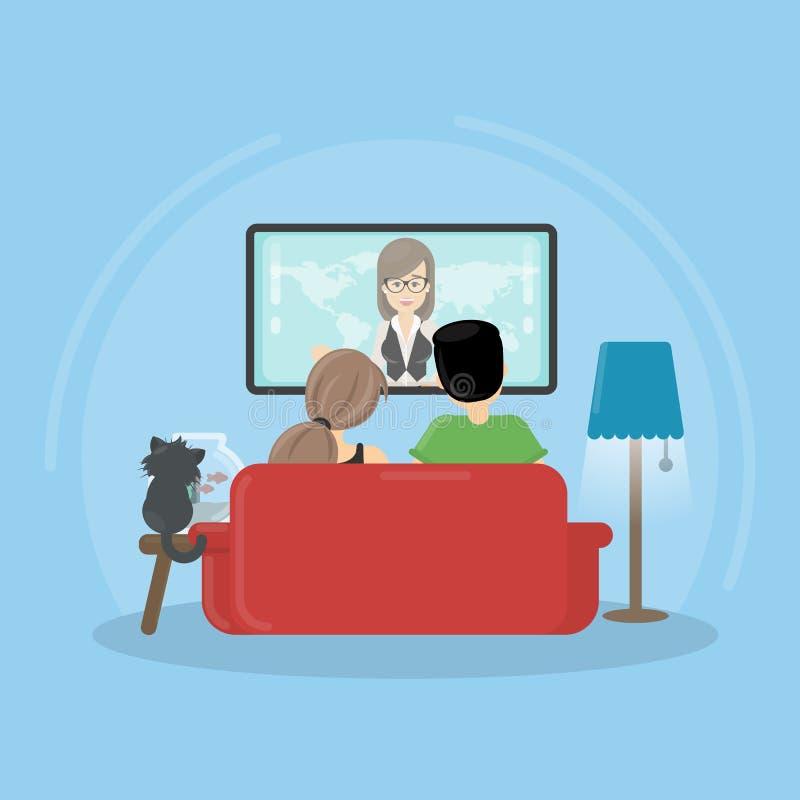 TV de observación en el país stock de ilustración