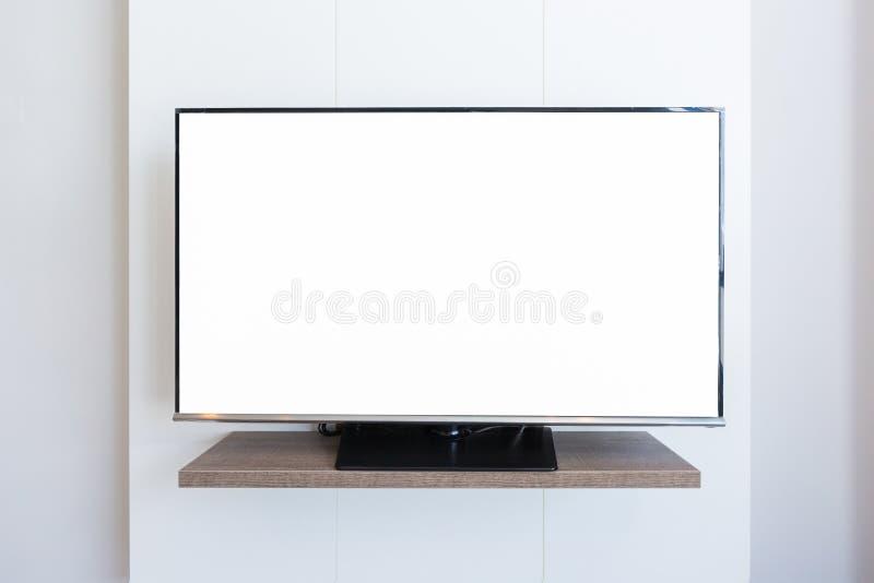 TV-de spatie van het televisiescherm op witte muurachtergrond Met clippi royalty-vrije stock afbeelding