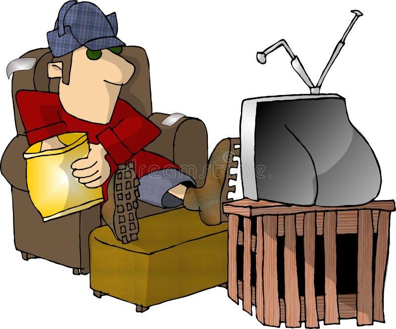 TV di sorveglianza e mangiare gli spuntini royalty illustrazione gratis