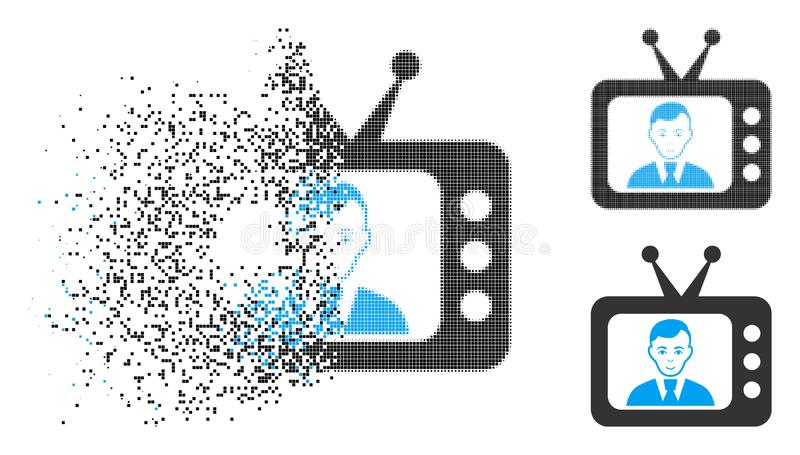 Shredded Dot Halftone TV Dictor Icon with Face royalty free illustration