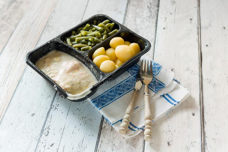 TV dinner with beans royalty free stock image