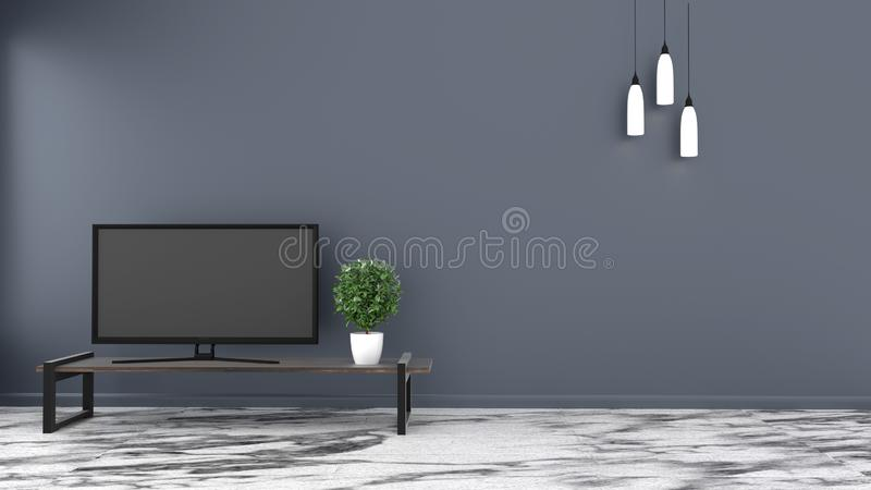 TV, Empty room stone floor on dark wall background. 3D rendering. Room TV, Empty room stone floor on dark wall background. 3D rendering vector illustration