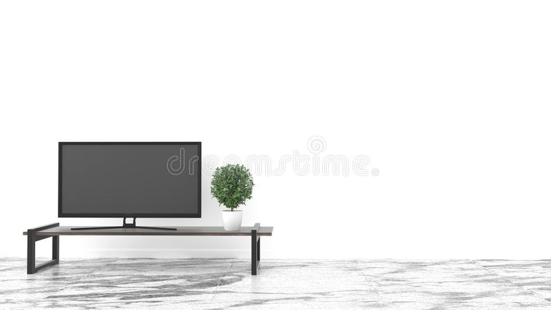TV, Empty room stone floor on white wall background. 3D rendering. Room TV, Empty room stone floor on white wall background. 3D rendering vector illustration