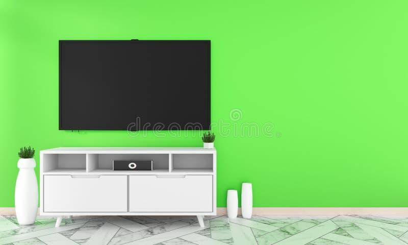 TV en diseño del gabinete en suelo de baldosas interior del granito del sitio en la pared verde, estilo mínimo del zen de los dis ilustración del vector