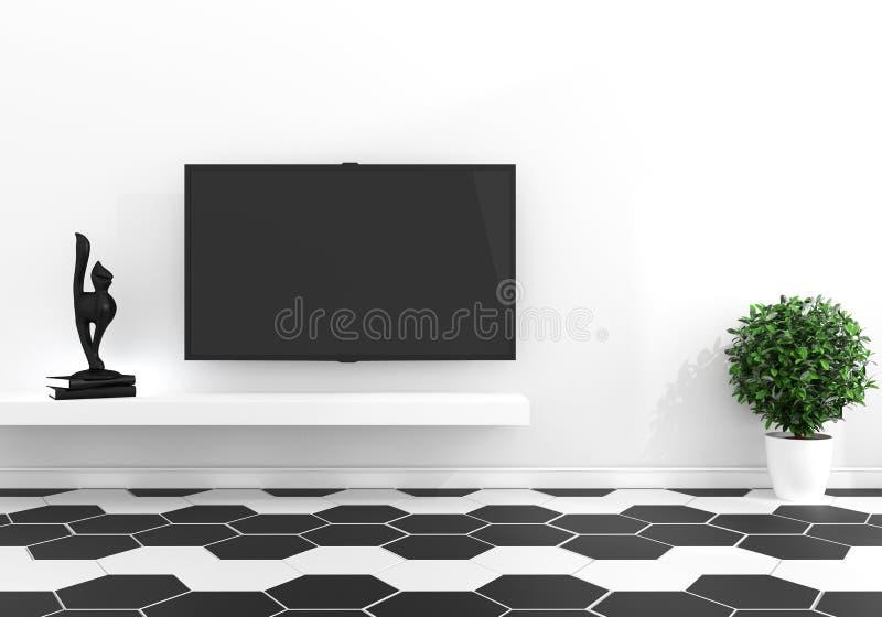 TV en el sitio vacío moderno - piso moderno blanco y negro del color de la teja del hexágono - mínimo representaci?n 3d stock de ilustración