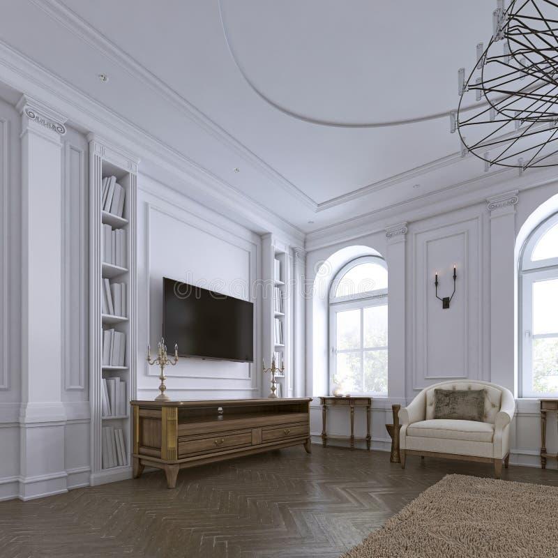 TV en la pared con el gabinete en sala de estar clásica, muchos estantes en fondo blanco trasero de la pared stock de ilustración