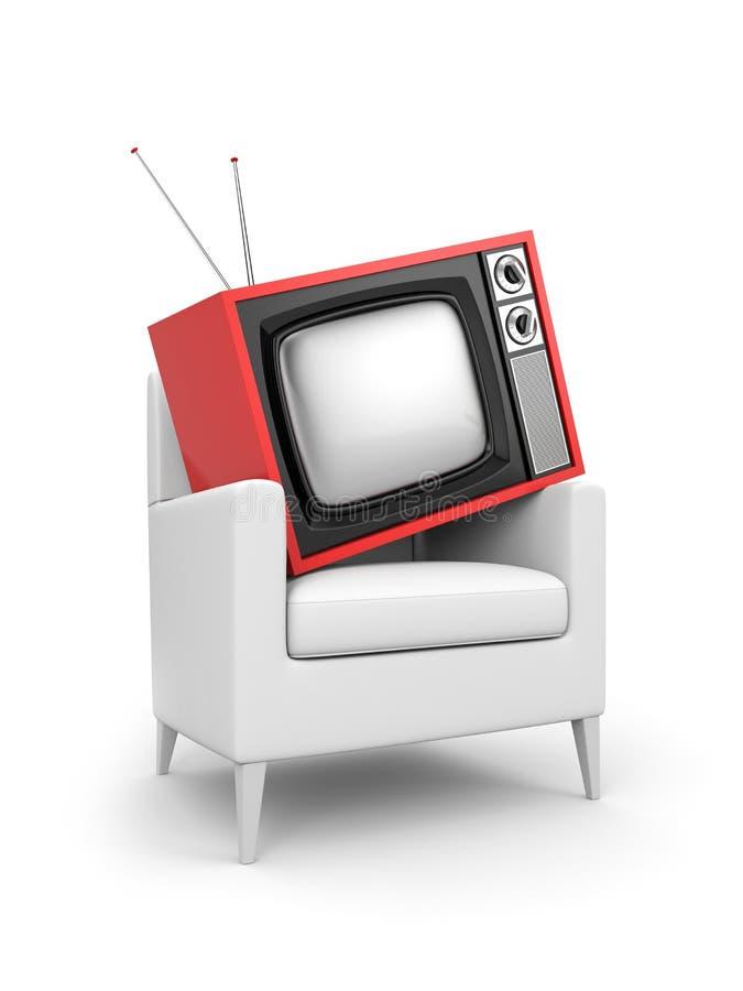 TV en la silla ilustración del vector