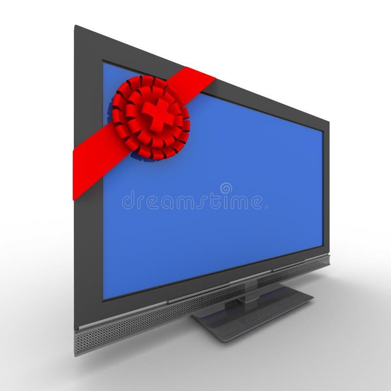 TV en regalo en el fondo blanco ilustración del vector