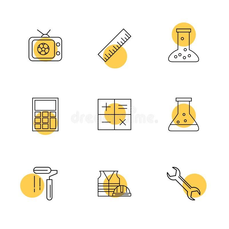TV, escala, cubilete, calculadora, matemáticas, frasco químico, pintura ilustración del vector