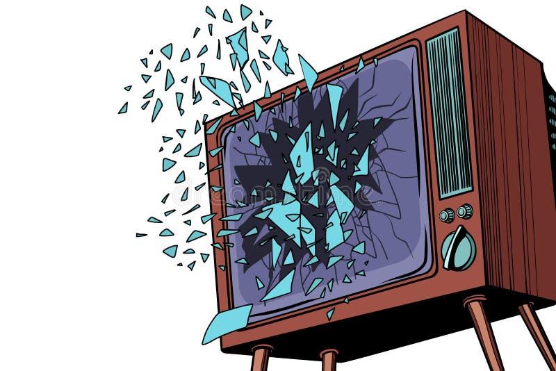 TV explodeert, het gebroken scherm vector illustratie