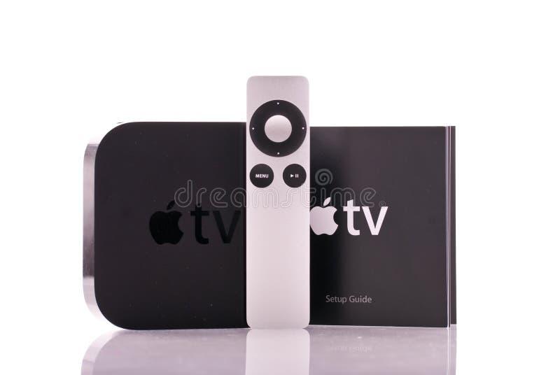 tv för äpplekontrollremote arkivfoton