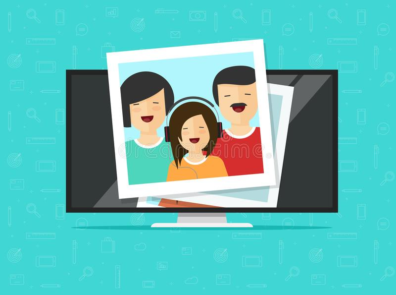 TV flat screen with photo cards vector illustration, flat cartoon computer lcd monitor or led television display showing vector illustration