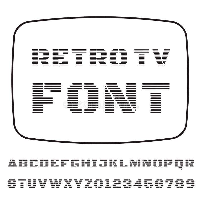 TV Font. Vector font stylized under the old TV vector illustration
