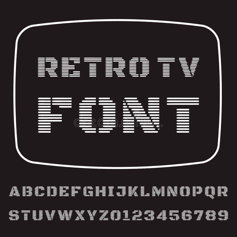 TV Font. Vector font stylized under the old TV stock illustration