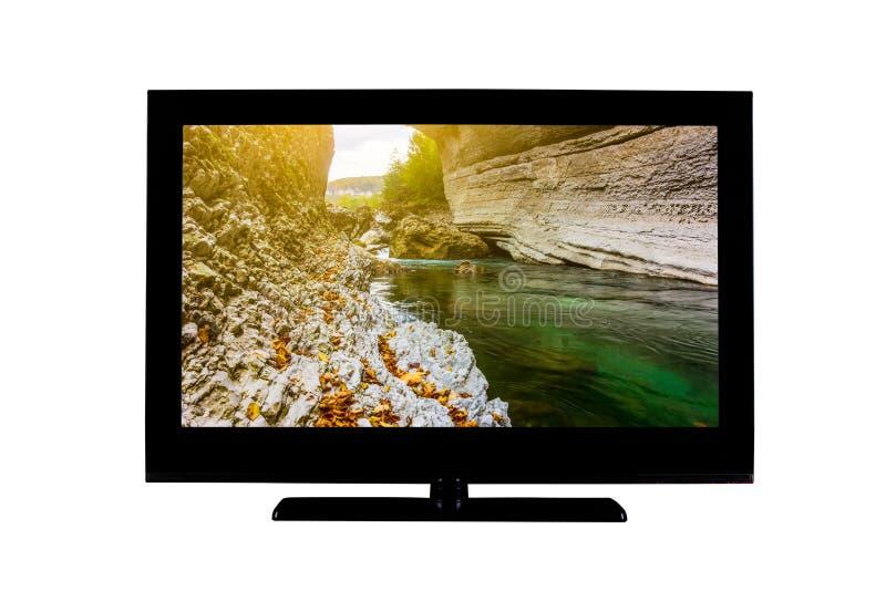TV Full hd con paesaggio autunnale dei fiumi sullo schermo isolato in bianco immagine stock libera da diritti