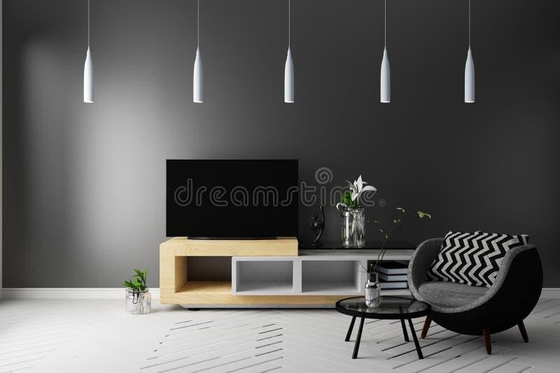 TV futée dans le plein intérieur vivant de style de couleur rendu 3d illustration de vecteur