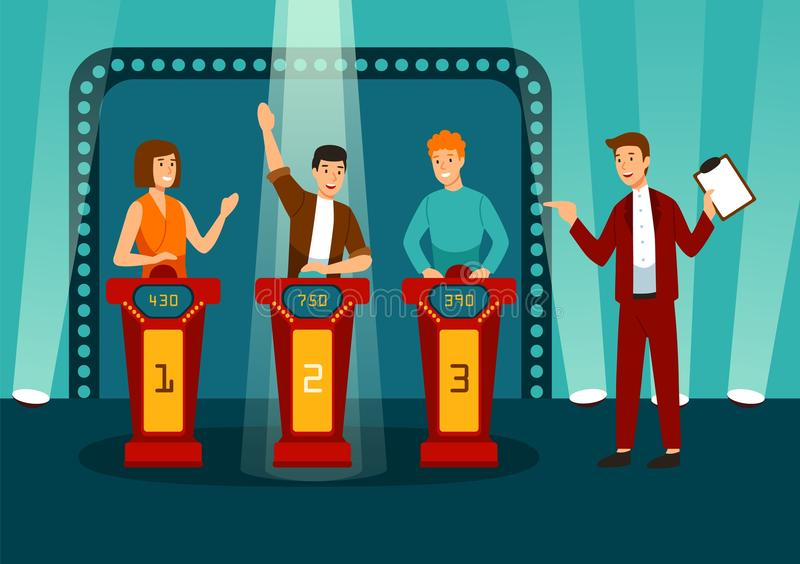 TV game show with three participants answering questions or solving puzzles and host. Smiling men and women participate. In television quiz. Colorful vector vector illustration