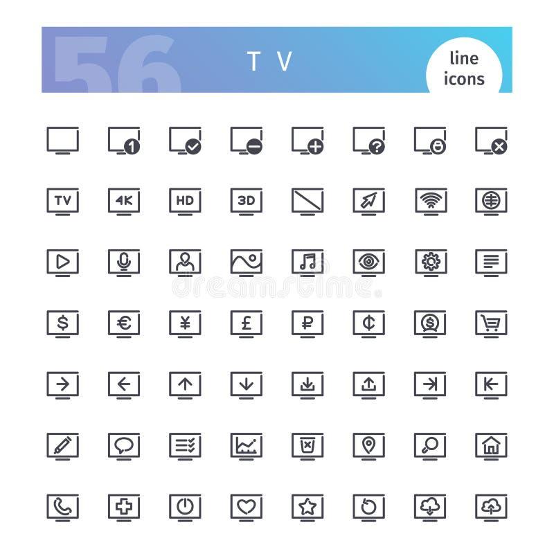TV-Geplaatste Lijnpictogrammen royalty-vrije illustratie