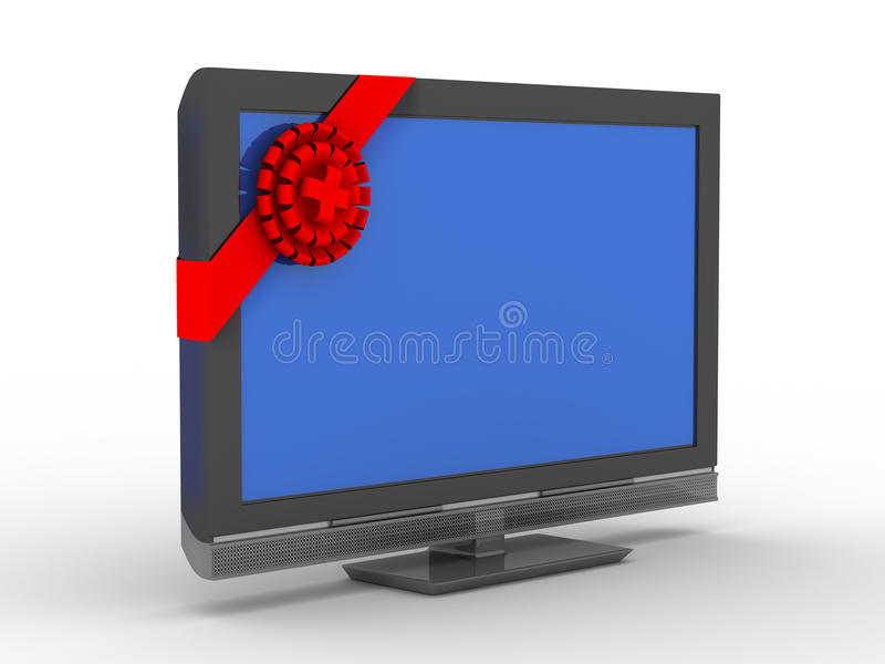 TV in gift on white background royalty free illustration