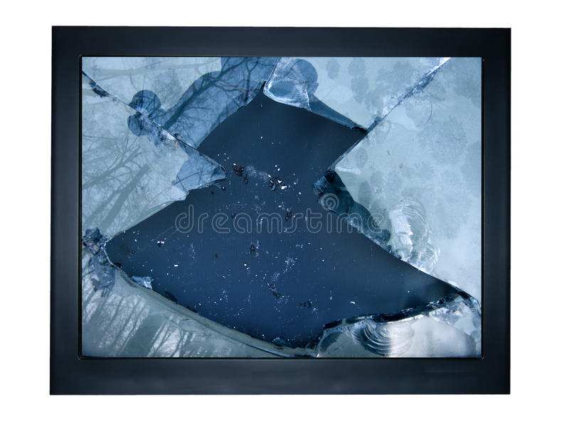 TV glass broken stock photos