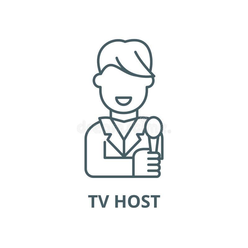 Tv gospodarza wektoru linii ikona, liniowy pojęcie, konturu znak, symbol ilustracja wektor