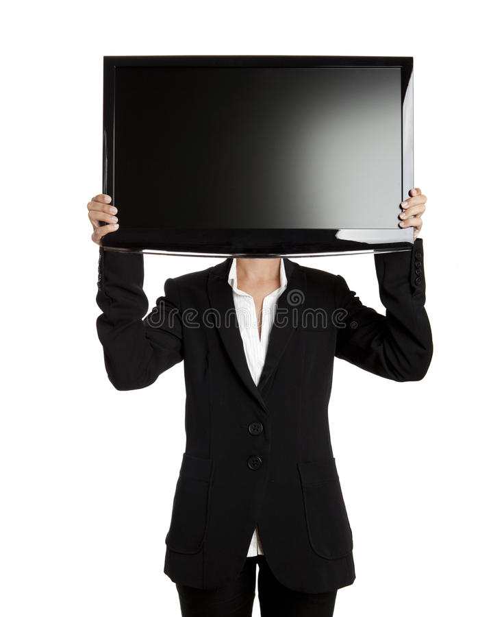 TV head. Woman holding a big TV screen over her head stock images