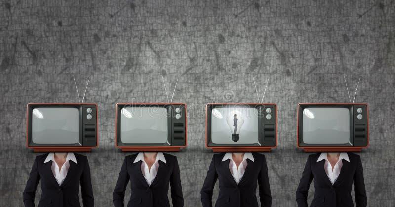 Tv head business woman. having an idea. Digital composite of Tv head business woman. having an idea stock illustration