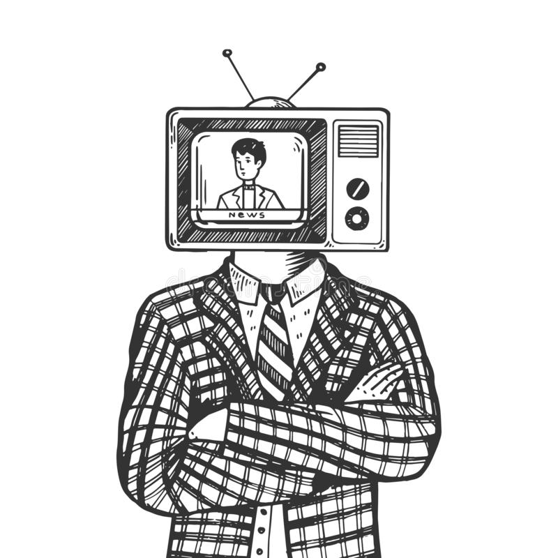 TV head man engraving vector illustration. TV head of man engraving vector illustration. Scratch board style imitation. Black and white hand drawn image royalty free illustration