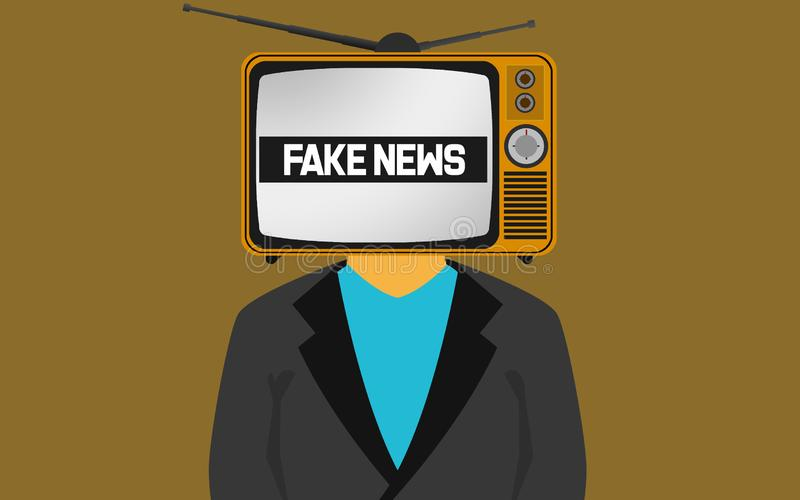 TV on the head of a man with fake news word stock illustration